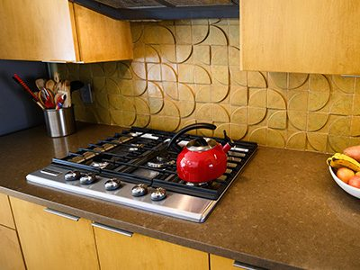 Kitchen backsplash natural wood